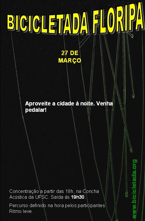 Cartaz da Bicicletada Floripa de março de 2009 v.4