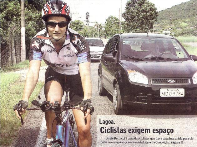 Lagoa. Ciclistas exigem espaço. Gisele Bertucci é uma das ciclistas que trava uma luta diária para circular com segurança nas ruas da Lagoa da Conceição.