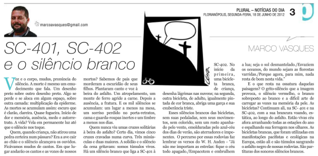 Crônica - Marco Vasques ND 2012-06-18 SC-401, SC-402 e o silêncio branco