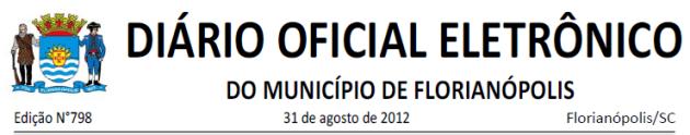 Diario Oficial de Florianopolis 2012-08-31