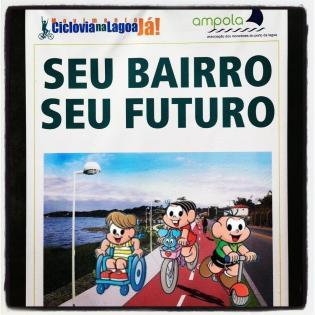 Moradores usam a Turma da Mônica para mostrar como deve ficar ciclovia na Lagoa da Conceição. Imagem: Movimento Ciclovia na Lagoa Já.
