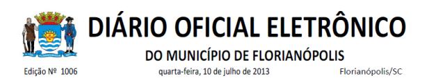 Diário Oficial de Florianópolis 2013-07-10
