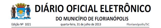 Diario Oficial de Florianopolis 2013-07-31
