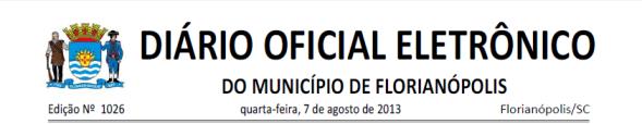 Diario Oficial de Florianopolis 2013-08-07