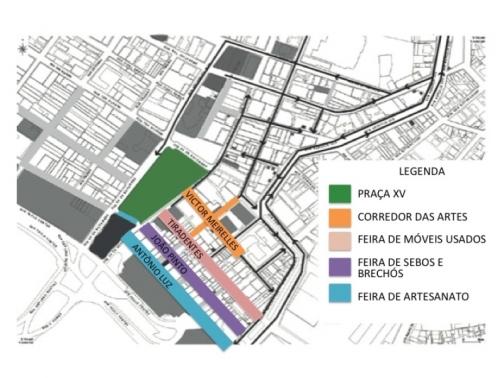 Mapa das ruas abrangidas pelo projeto Viva a Cidade.