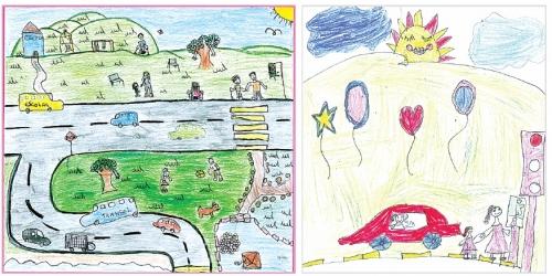 Desenhos de Emily Santos e Sofia Cunha foram escolhidos em concurso entre alunos da rede de ensino de Florianópolis