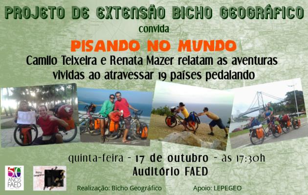 Camilo Teixeira e Renata Mazer relatam as aventuras vividas ao atravessar 19 países pedalando.
