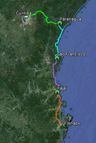 Mapa - Viagem FMB 2014