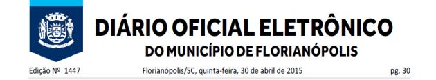 Diario Oficial de Florianopolis 2015-04-30
