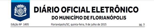 Diario Oficial de Florianopolis 2015-07-09